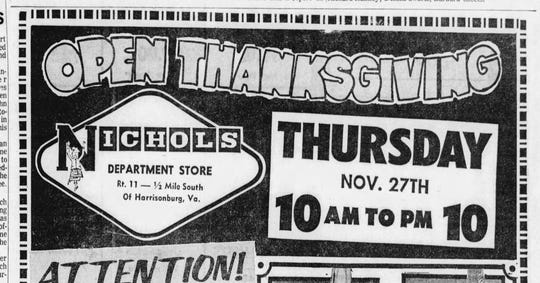 Clipping of a Nichols Department Store advertisement from the Nov. 20, 1969 edition of The News Leader.