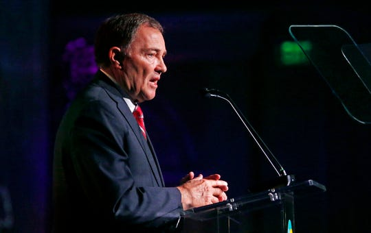 FILE - In this May 30, 2019, file photo, Utah Gov. Gary Herbert speaks during a conference in Salt Lake City. Utah is set to become the 19th state to enact a ban on the discredited practice of conversion therapy after state officials revised a proposal to win back the support of the influential Church of a Jesus Christ of Latter-day Saints. Herbert announced Tuesday, Nov. 26, that church leaders support the tweaked version because it uses language from a legislative proposal that failed despite the church not opposing it. (AP Photo/Rick Bowmer, File)