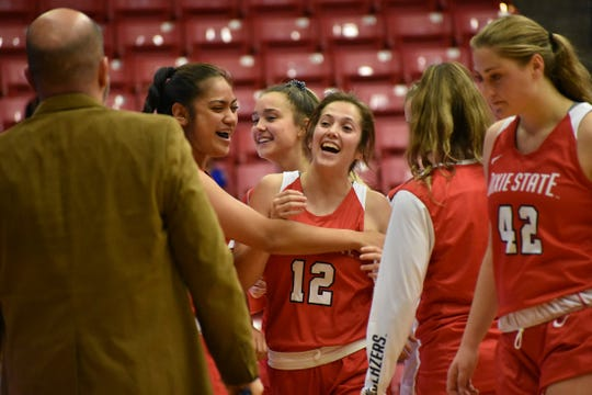 Madi Loftus (12) celebrates during DSU's win over Saint Martins.
