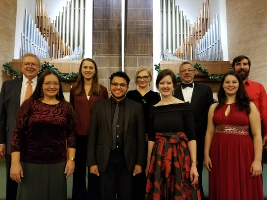 Lisa Foltz, third from left on front row, and singers at the 2018 Sing-Along Messiah held at Faith Presbyterian Church.