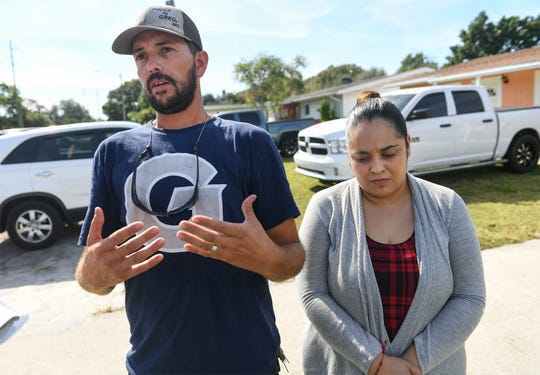 Rogelio Magana (left), 32, of Fort Pierce, stands with his wife Maria, while talking about his family members, his father Jose Magana Gil, 58, his uncle, Jaime Magana, 50, and his brothers, Juan Magana, 30, and Jose Magana, 38, while at a family member's home on Oleander Avenue on Wednesday, Nov. 27, 2019, in Fort Pierce. All four of Rogelio's family members, Jaime, Juan, Jose Magana and Jose Magana Gil were killed in a two-vehicle crash while traveling south on Interstate 95 around 6 p.m. Tuesday evening in the Titusville area, according to the Florida Highway Patrol.