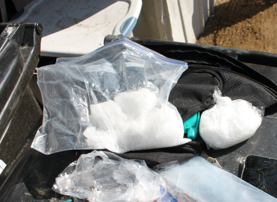 Evidence collected by Ventura County authorities during a narcotics arrest on Friday.