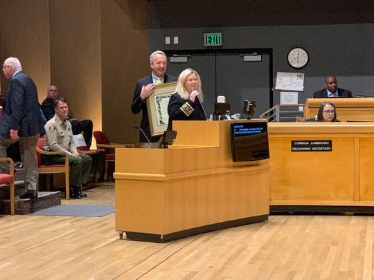Jill Lederer, the retiring head of the Greater Conejo Valley Chamber of Commerce, was honored at the Nov. 19 Thousand Oaks City Council meeting.
