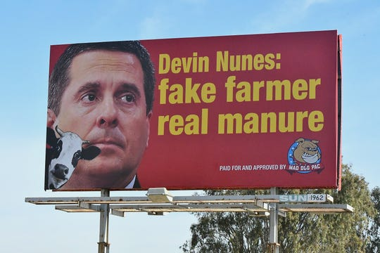 """A new political ad on Highway 198 and 7th Avenue in Hanford is turning heads for those heading into Rep. Devin Nunes' district. The billboard reads: """"Devin Nunes: fake farmer, real manure"""" and is paid for by a liberal, Washington, DC-based PAC."""