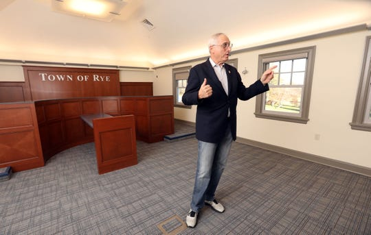 Rye Town Supervisor Gary Zuckerman talks about the new community meeting room in the renovated Crawford Mansion Community Center Nov. 26, 2019 in Rye Brook. The updated mansion with an elevator is the latest addition to Crawford Park's grounds which includes a renovated pavilion, playground, and sensory garden.