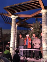 Nyack's elected officials speak before the 2018 tree lighting ceremony.