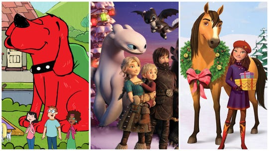 """A """"Clifford"""" reboot, """"How to Train Your Dragon Homecoming"""" and """"Spirit Riding Free: The Spirit of Christmas"""" are among the movies and shows to stream in December for kids."""