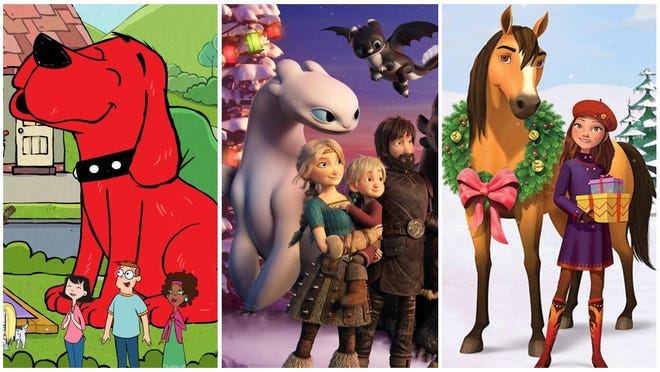"A ""Clifford"" reboot, ""How to Train Your Dragon Homecoming"" and ""Spirit Riding Free: The Spirit of Christmas"" are among the movies and shows to stream in December for kids."