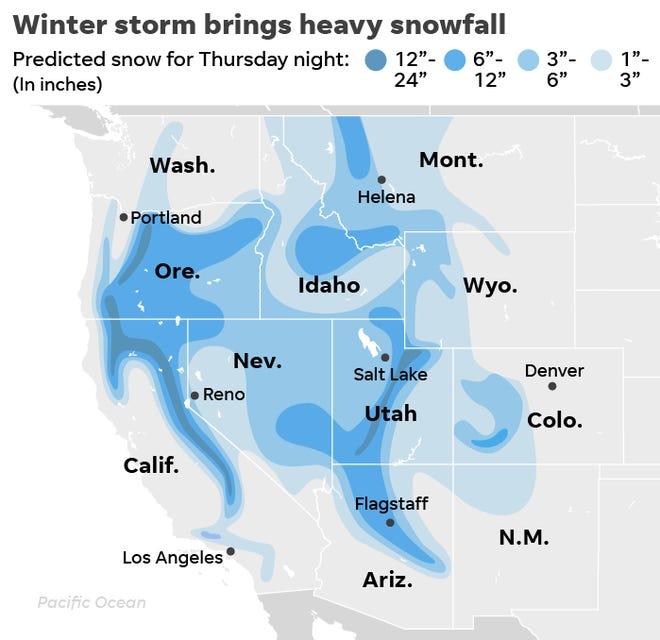 snowfall in california map Thanksgiving Weather Bomb Cyclone Brings Snow To California Colorado