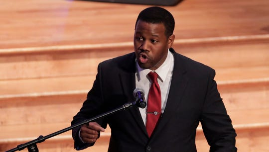 Harry Spikes, congressional staff member for the late Rep. Elijah Cummings, speaks during funeral services for Cummings, Oct. 25, 2019, in Baltimore.