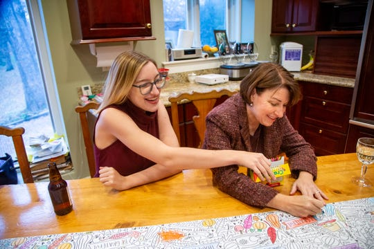 Sen. Amy Klobuchar D-Minn., and her daughter Abigail Klobuchar Bessler celebrate Thanksgiving at the home of her campaignÕs state chairwoman Andy McGuire Thursday, Nov. 28, 2019.