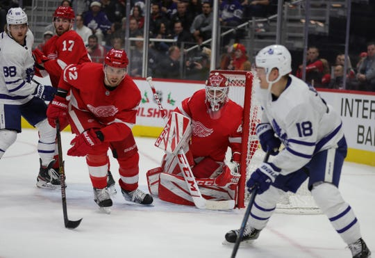Detroit Red Wings defenseman Patrik Nemeth (22) and goaltender Jonathan Bernier defend against the Toronto Maple Leafs during the second period Wednesday, Nov. 27, 2019 at Little Caesars Arena.