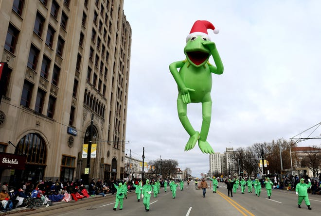 The Kermit the Frog float heads down Woodward Avenue during the America's Thanksgiving Parade presented by Art Van in Detroit on Thursday, November 28, 2019.