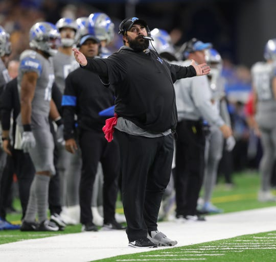 Detroit Lions head coach Matt Patricia reacts to a call during action against the Chicago Bears, Thursday, Nov. 28, 2019 at Ford Field.