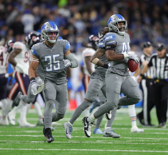 Detroit Lions linebacker Jalen Reeves-Maybin (44) celebrates after recovering an onside kick against the Chicago Bears during the first half Thursday, Nov. 28, 2019 at Ford Field.