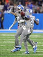 Detroit Lions cornerback Darius Slay (23) celebrates his interception against Chicago Bears quarterback Mitchell Trubisky during the second half Thursday, Nov. 28, 2019 at Ford Field.
