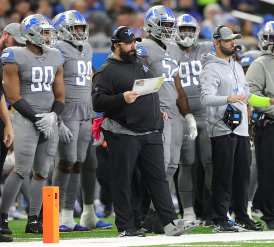 Detroit Lions coach Matt Patricia during action against the Chicago Bears, Thursday, Nov. 28, 2019 at Ford Field.