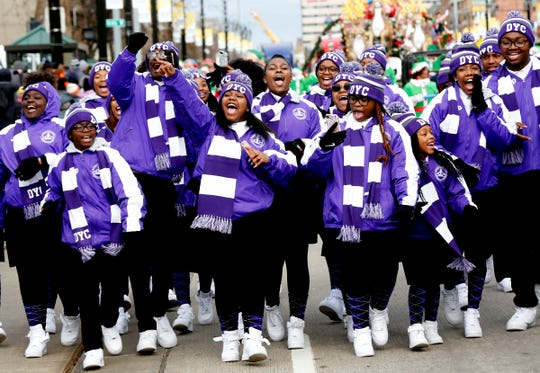 The popular Detroit Youth Choir excited and encouraged parade goers as they headed down Woodward Avenue during the America's Thanksgiving Parade presented by Art Van in Detroit on Thursday, November 28, 2019.