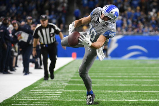 Detroit Lions receiver Danny Amendola is unable to catch a pass during the fourth quarter against the Chicago Bears at Ford Field, Nov. 28, 2019.