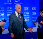 In this Saturday, Nov. 23, 2019 photo, U.S. Navy Secretary Richard Spencer fields questions at a media availability at the Halifax International Security Forum in Halifax, Nova Scotia.
