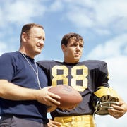 """I played in four Super Bowls, and I'm the proud owner of three Super Bowl rings. But if you had to take me to one moment in time, one place in time, it would have been Michigan-Ohio State in 1969,"" said the late Jim Mandich, here with coach Bo Schembechler, in 2009."