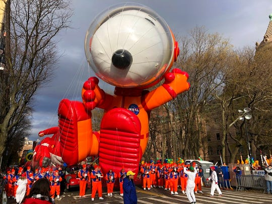 The Snoopy balloon is ready to go at the start of the Macy's Thanksgiving Day Parade, Thursday, Nov. 28, 2019, in New York.
