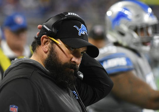 Lions head coach Matt Patricia on the sidelines during the third quarter.