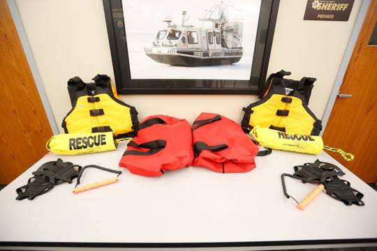 Through a donation of $5,000 from the Peter Zacherl family, life vests, a throw rope, ice picks and cleats have been added to every squad car in the Fond du Lac County Sheriff's Department fleet to assist in ice rescues Wednesday, November 27, 2019. Zacherl drowned in Lake Winnebago in January of 2019 as a result of an ATV he was on falling through the ice.