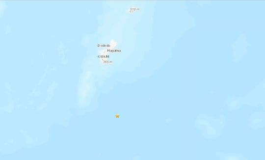 The U.S. Geological Survey recorded an earthquake with a preliminary magnitude of 5.0 that struck 65.8 miles south-southeast of Inarajan on Nov. 29, 2019.