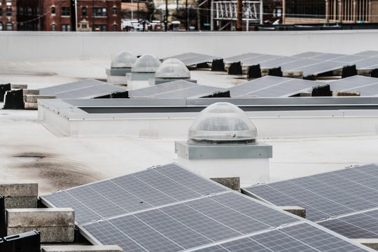 Solar tubes bring daylight into offices and solar panels help to power Guidon Design, 1221 N. Pennsylvania St., in Indianapolis, Wednesday, Nov. 27, 2019. The former FBI building, redesigned by Guidon, is Indiana's first LEED v4 Platinum building, awarded in 2019 for leadership in renewable energy and environmental design.