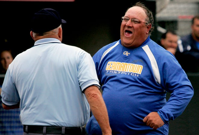 Germantown Coach Kurt Raguse protests a call during the WIAA Division 1 State quarterfinal at Goodman Field in Madison on June 6, 2013.