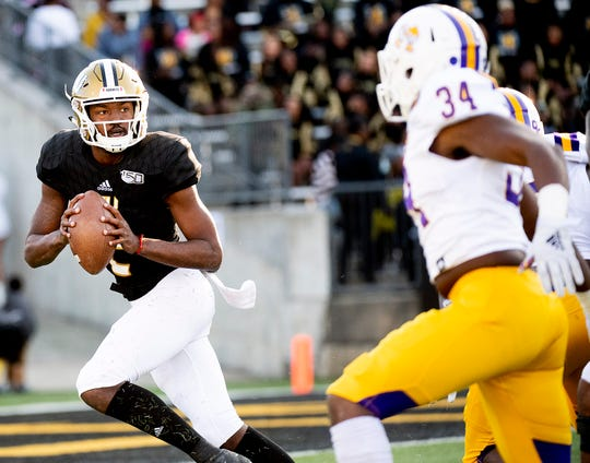 Alabama State quarterback KHA'Darrius Davis (2) looks to pass against Prairie View in first half action of the Turkey Day Classic on the ASU campus in Montgomery, Ala., on Thanksgiving Day, Thursday, November 28, 2019.