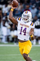 Prairie View quarterback Trazon Connley (14) throws against Alabama Statein first half action of the Turkey Day Classic on the ASU campus in Montgomery, Ala., on Thanksgiving Day, Thursday, November 28, 2019.