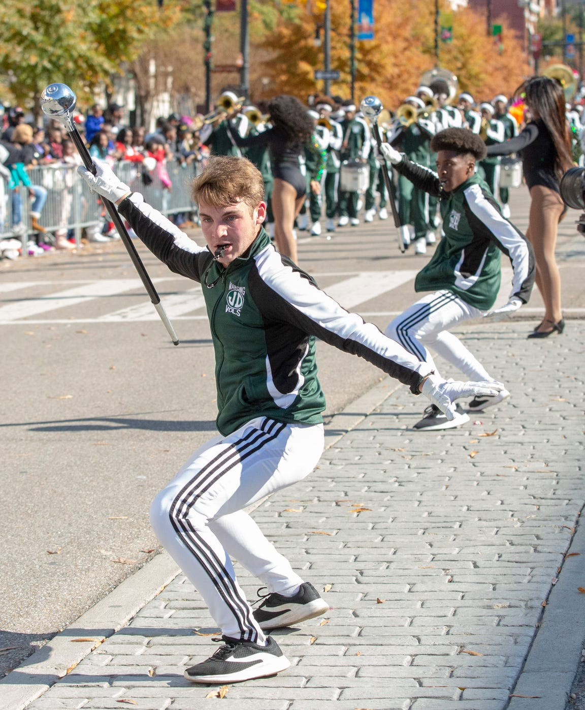 Justin Heideman, a drum major who went viral recently, leads his Jeff Davis band down Dexter to the shouts of many adoring fans.