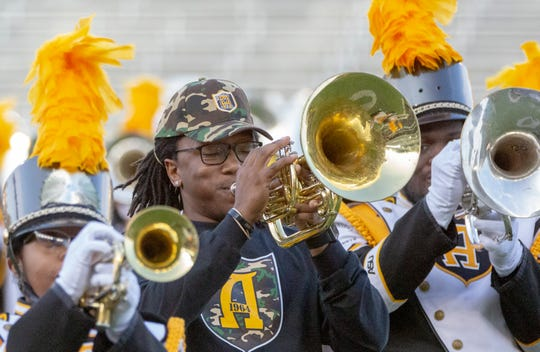 The Alabama State University Mighty Marching Hornets combined with alumni during the Turkey Day Classic to give fans an exciting show.