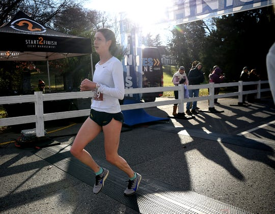 Emma Sloan was the first female to cross the finish line in the 2019 Boulevard Bolt in Nashville on Thursday, Nov. 28, 2019.