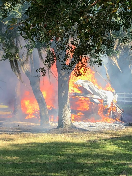 Tice firefighters battled a blaze that engulfed a motor home on Thanksgiving morning, Nov. 28, 2019.