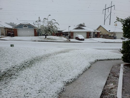Snow fell on the Southern California community of Beaumont on Thursday, Nov. 28, 2019. A winter storm brought snow to the Inland Empire and several inches were expected in the mountains.