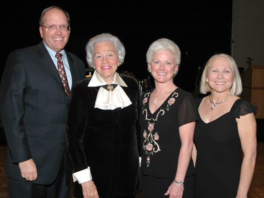 Betty Barker, second from left, was honored in 2007 at the Children's Discovery Museum of the Desert's gala. With here were President Randal Miller Executive Director Lee Anne Vanderbeck  and Event Chair Debbi Hall.