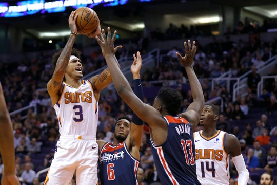Washington Wizards guard Bradley Beal (3) in the second half during an NBA basketball game against the Washington Wizards, Wednesday, Nov. 27, 2019, in Phoenix. The Wizards defeated the Suns 140-132. (AP Photo/Rick Scuteri)