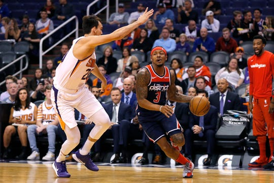 Washington Wizards guard Bradley Beal (3) in the second half during an NBA basketball game against the Phoenix Suns, Wednesday, Nov. 27, 2019, in Phoenix. The Wizards defeated the Suns 140-132. (AP Photo/Rick Scuteri)