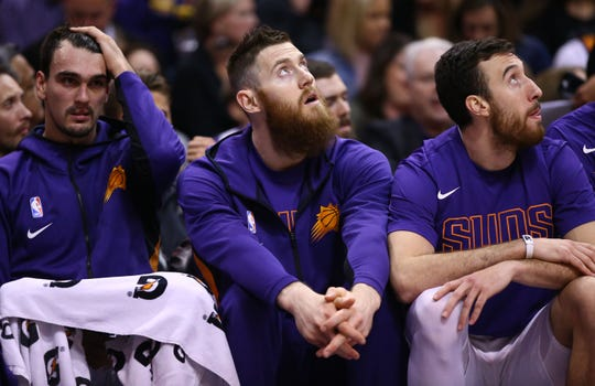 Phoenix Suns center Aron Baynes (46) did not play against the Washington Wizards on Nov. 27, 2019 in Phoenix, Ariz.
