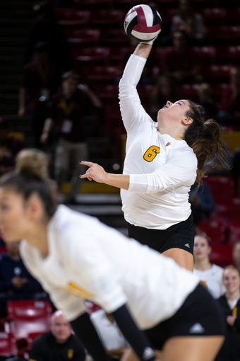 Arizona State's Nicole Peterson serves against USC on Wednesday, November 27, 2019, at Desert Financial Arena in Tempe, Ariz.