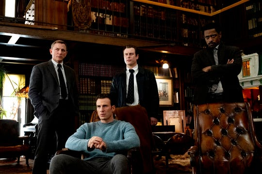"""From left, Daniel Craig, Chris Evans, Noah Segan and Lakeith Stanfield star in """"Knives Out."""" The movie is playing at Regal West Manchester, Queensgate Movies 13 and R/C Hanover Movies."""