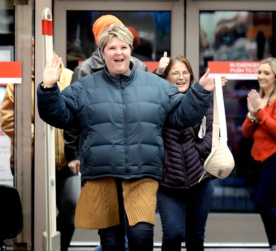 """Friends Mindy Zook of Mifflintown, left, Tania Zech of West Manchester Township, were the first shoppers into the West Manchester Township Target Thursday, Nov. 28, 2019. They waited in line two hours for the 5 p.m. store opening on Thanksgiving Day. Zook said she stays in York for a weekend of shopping with her friend. """"My husband went home,"""" she said. Bill Kalina photo"""