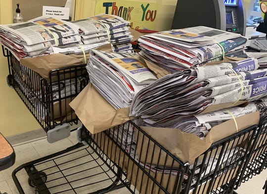 Baskets of the Thanksgiving edition of the Statesman Journal are ready for customers at the Roth's store on Commercial St SE in Salem, November 27.