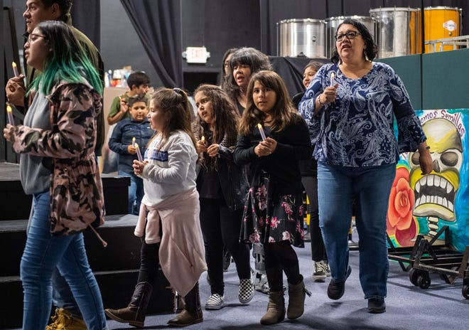 La Posada Magica cast members rehearse during the La Posada Magica open to the media rehearsal night at the Alisal Center for the Fine Arts in East Salinas on Nov. 14, 2019.