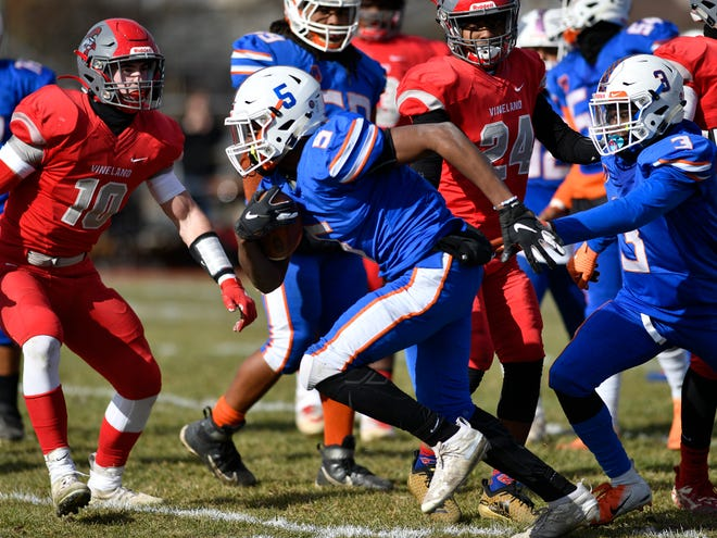 Millville's LeQuint Allen runs for a gain against Vineland on Thanksgiving last year. The junior appears poised for a huge breakout year for the 'Bolts.