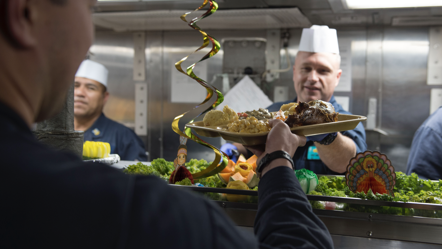 'You have to make the best of it': How US Navy sailors celebrate Thanksgiving at sea