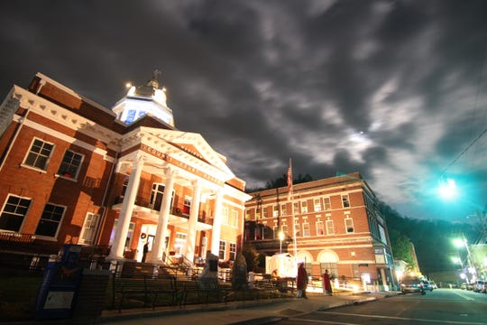 This photo shows the Madison County Courthouse during the 2017 edition of the annual Christmas pageant.